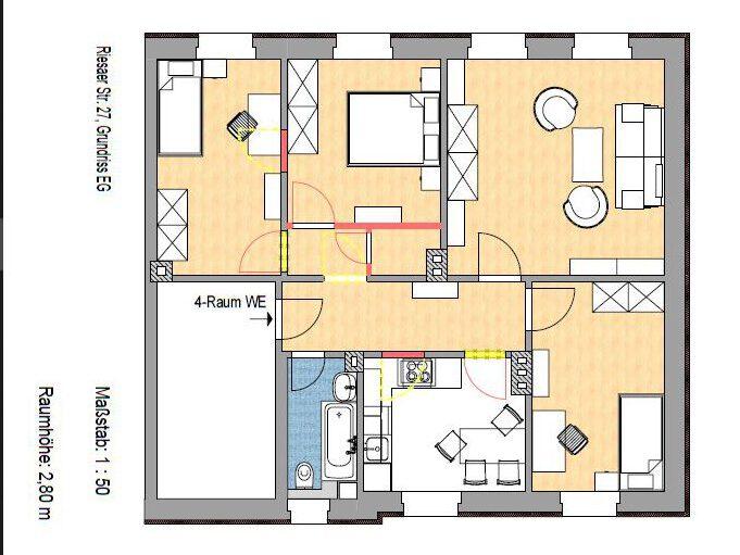 Komfortable 4-Raum-Wohnung